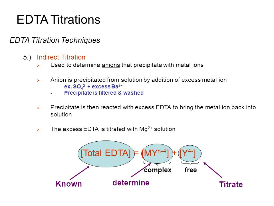 EDTA Titrations [Total EDTA] = [MYn-4] + [Y4-]